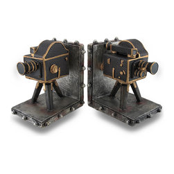 Zeckos - Vintage Style Film Camera Cast Resin Bookend Set of 2 - This unique set of vintage style film camera bookends would look right at home displayed in your living room, studio, home or office. Made of cold cast resin, each bookend measures 6 inches high, 5 1/4 inches long and 4 1/2 inches wide. The cameras are highly detailed and are hand-painted. They have padded foam feet on the bottoms to keep your furniture scratch free This set of 2 bookends makes the perfect gift for video enthusiasts.