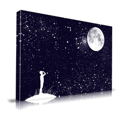 "Apt2B - 'Wishful Thinking' Print by Maxwell Dickson, 24"" x 36"" - Fly to the moon and play among the stars with this one on your wall. Printed on archival museum-quality canvas, it's finished with gallery-wrapped edges and comes ready to hang. Gaze to your heart's content."
