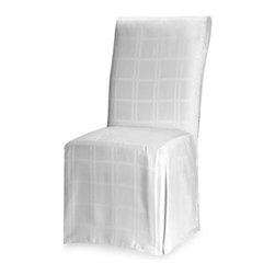 Bardwil Linens - Origins Microfiber White Dining Room Chair Cover - Dining room chair cover spruces up your seating area and is easy to clean. When spilled, liquid beads up and doesn't leak through cloth keeping your cover fresh-looking longer.