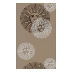 Cole & Son - Cole & Son Il Sole Taupe by Fornasetti Wallpaper - The Cole and Son archive consists of approximately 1,800 block print designs, 350 screenprint designs and a huge quantity of original drawings and wallpapers, representing all the styles from the 18th, 19th and early 20th centuries. Cole and Son is now the primary source for entirely authentic period wallpapers printed by the original method. Designs are carefully selected, adapted and colored by the Design Studio and printed by craftsmen to produce wallpapers faithful to the character of the original document yet contemporary in feel.