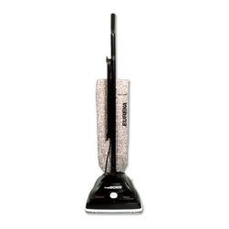 Eureka - Eureka Household Upright Bag-Style Vacuum, 12 lbs., 5 amp, Black - Powerful 5.0 amp motor combines with high-efficiency direct airflow system for a deep carpet cleaning. Unique three-position handle adjusts horizontally for gliding seamlessly under tables, chairs and around corners. Four-position carpet height adjustment and dual-edge cleaning provides better maneuverability and cleaning results. Includes a top-filling bag system and 20-ft. power cord.