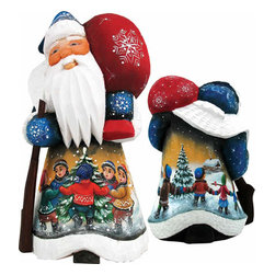 "Artistic Wood Carved Santa Claus Winter Day Delight Sculpture - Measures 5""H x 3.5""L x 3.5""W and weighs 1 lb. G. DeBrekht fine art traditional, vintage style sculpted figures are delightful and imaginative. Each figurine is artistically hand painted with detailed scenes including classic Christmas art, winter wonderlands and the true meaning of Christmas, nativity art. In the spirit of giving G. DeBrekht holiday decor makes beautiful collectible Christmas and holiday gifts to share with loved ones. Every G. DeBrekht holiday decoration is an original work of art sure to be cherished as a family tradition and treasured by future generations. Some items may have slight variations of the decoration on the decor due to the hand painted nature of the product. Decorating your home for Christmas is a special time for families. With G. DeBrekht holiday home decor and decorations you can choose your style and create a true holiday gallery of art for your family to enjoy. All Masterpiece and Signature Masterpiece woodcarvings are individually hand numbered. The old world classic art details on the freehand painted sculptures include animals, nature, winter scenes, Santa Claus, nativity and more inspired by an old Russian art technique using painting mediums of watercolor, acrylic and oil combinations in the G. Debrekht unique painting style. Linden wood, which is light in color is used to carve these masterpieces. The wood varies slightly in color."