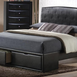 Coaster Briana Queen Panel Bed with Storage 300245Q - Stylish and functional, the Coaster Briana queen bed features a beautiful black leather-like by-cast headboard and a two-drawer storage footboard.