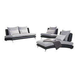 Homelegance - Homelegance Renton 3 Piece Upholstered Living Room Set in Black & Grey - The cool curving lines of the Renton Collection flow within the defined spectrum of modern design, yet exhibit a flair that sets it apart from all others. Convex metal legs support the black bi-cast vinyl body of each curvaceous piece flowing to woven grey and white fabric seating. Each armless piece is a statement, with offerings including a chair, sofa and chaise - which can be joined together to form a comfortable sectional. The collection will be a perfect addition to your ultra contemporary home.