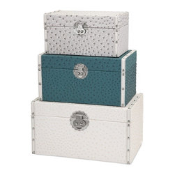 IMAX - Claire Trunks - Set of 3 - No need to stick your head in the sand: Solve storage needs beautifully with a trio of leather-look trunks in trend-right colors of gray, white and teal, set apart with an embossed ostrich pattern and silver metal hardware with old world flair.
