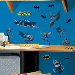 RoomMates - Batman- Gotham Guardian Peel & Stick Appliques - RMK1148SCS - Shop for Wall Decorations from Hayneedle.com! Kids love comic books. Parents love not peeling decals off things. That's why we're offering this collection of Batman removable stickers featuring the Dark Knight and his arch nemesis The Joker. The images are taken from the classic Batman of DC comics with a gold belt and grey tights. Plenty of bat-symbols and bat-vehicles are included in the set for added flair.These stickers will work on just about any surface but take care with wallpaper or some delicate surfaces. If in doubt test in an inconspicuous place prior to applying all the stickers. Also wait 10 to 15 days after painting before using stickers. Though the paint feels dry it needs adequate time to cure. As with any adhesive product these will work much better on clean surfaces free of dust and the like. Specifically they will work well on surfaces including but not limited to walls mirrors your fridge laptop covers tile glass lockers furniture and automotive surfaces.Please note this product does not ship to Pennsylvania.