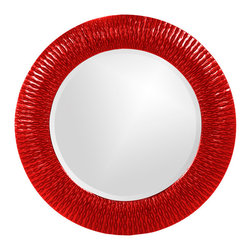 Howard Elliott - Howard Elliott 21143R Bergman Red Small Round Mirror - This round, resin mirror is painted in a glossy red giving the piece textured, starburst effect. Mirror (1)