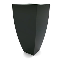 Decorpro - Medium Corby Planter, Dark Green - The Corby Planter evolved from a variation on the standard square pots. Although designed as a large outdoor planter, these tall elegant planters also look great indoors. With clean curved lines these modern planters add an impressive statement as commercial  planters or in private residences.