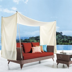 Roswell Canopy Patio Sofa Set - This Roswell Canopy Patio Sofa Set features a detachable overhead canopy bringing both style and shade to your outdoor decor!
