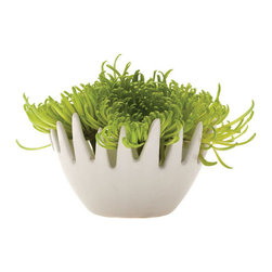Coxcomb Floral Dish - The striking wide design of this ceramic dish enable you to create new and exciting floral forms in your decorating. Use a floral frog to display a spread of broad, showy blossoms across the top, or fill it in with soil to grow your favorite succulent clippings.