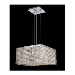 Elegant Lighting - Moda Clear Crystal Chandelier w 5 Lights in Chrome (Elegant Cut) - Choose Crystal: Elegant Cut. 6 ft. Chain/Wire Included. Bulbs not included. Crystal Color: Crystal (Clear). Chrome finish. Number of Bulbs: 5. Bulb Type: GU10. Bulb Wattage: 55. Max Wattage: 275. Voltage: 110V-125V. Assembly required. Meets UL & ULC Standards: Yes. 18 in. W x 18 in. D x 11 in. H (25lbs.)Description of Crystal trim:Royal Cut, a combination of high quality lead free machine cut and machine polished crystals & full-lead machined-cut crystals..SPECTRA Swarovski, this breed of crystal offers maximum optical quality and radiance. Machined cut and polished, a Swarovski technician¢s strict production demands are applied to this lead free, high quality crystal.Strass Swarovski is an exercise in technical perfection, Swarovski ELEMENTS crystal meets all standards of perfection. It is original, flawless and brilliant, possessing lead oxide in excess of 39%. Made in Austria, each facet is perfectly cut and polished by machine to maintain optical purity and consistency. An invisible coating is applied at the end of the process to make the crystal easier to clean. While available in clear it can be specially ordered in a variety of colors.Not all trims are available on all models.