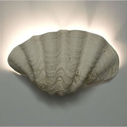 Karen Robertson - Karen Robertson Clamshell Sconce - Karen Robertson takes two prized clamshells, then casts them in resin to create a large textured and small ruffled Clamshell Sconce light fixture. These sconces project a most striking aura of light and become an alluring focal point of any room. Designed by Karen Robertson, they are hand-crafted in the USA using the highest quality components. Offered with chrome fixtures. Mounts to standard electrical outlet boxes. Available in small or large.