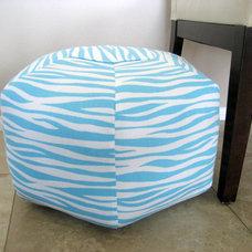 """18"""" Ottoman Pouf Floor Pillow Miami Aqua White"""