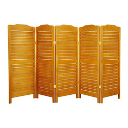 """Oriental Furniture - 4 ft. Tall Low Venetian Screen - Honey - 5 Panel - The low height is perfect for hiding unsightly areas, fireplaces, kid's play areas, or simply for adding a new design element to your space. The Venetian blind design allows air and light to pass through 3/8"""" off set slats."""