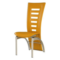 """Global Furniture - Dining Chair in Yellow PVC - This modern dining chair is finished in a yellow leatherette. The silver finish legs and trim compliment the cut out designs of the chair back. Will compliment almost any contemporary dining set.; Materials: PVC/Metal Legs; Color: Yellow/Silver Legs; Weight: 20 lbs; Dimensions: 23""""L x 18""""W x 42""""H"""