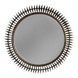 """DwellStudio - DwellStudio Compass Mirror - The DwellStudio Compass mirror presents a refined reinterpretation of an iconic sunburst design. Accenting its round center, glamorous brass spokes shimmer with contemporary drama. 36"""" Dia; Vintage brass; Plain mirror glass; Hangs from a wire"""