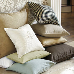 "Ballard Designs - Ballard Basic Throw Pillow Cover 20"" - Our Ballard Basic Throw Pillow Covers really pull a room together. Mix and match with different pillow shapes and patterns to set just the right mood. Best of all, these Ballard Basic Throw Pillow Covers meet the most basic decorating rule of all - they only look expensive. Each pillow cover features a hidden zipper. *Monogramming available for an additional charge.*Allow 3 to 5 days for monogramming plus shipping time.*Please note that personalized items are non-returnable. Click to view: Pillow Insert Only . Special Order Pillow Cover ."