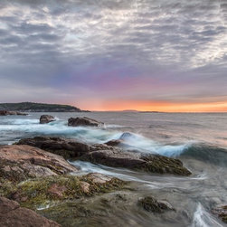 """morning splash"" Artwork - This seascape photograph was taken on a cold morning as the sunrise began. The waves came crashing on the rocks creating a dramatic feel to the Maine coastline near Acadia National Park.  This photograph is s special order item and will require 5 days printing in addition to shipping time. it is printed on canvas.  All images also are available in the following sizes: 13x19 unframed on Luster photographic paper - $150. 17x25 unframed on Luster photographic paper - $250. 20x30 Printed on Metallic and Mounted on Plexiglass -$1100"
