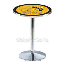 Holland Bar Stool - Holland Bar Stool L214 - Chrome Georgia Tech Pub Table - L214 - Chrome Georgia Tech Pub Table belongs to College Collection by Holland Bar Stool Made for the ultimate sports fan, impress your buddies with this knockout from Holland Bar Stool. This L214 Georgia Tech table with round base provides a commercial quality piece to for your Man Cave. You can't find a higher quality logo table on the market. The plating grade steel used to build the frame ensures it will withstand the abuse of the rowdiest of friends for years to come. The structure is triple chrome plated to ensure a rich, sleek, long lasting finish. If you're finishing your bar or game room, do it right with a table from Holland Bar Stool. Pub Table (1)