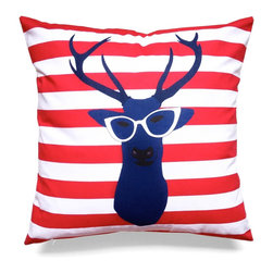 """Les Coussins d'Emilie - """"Deer"""" Cushion - Navy Blue - Make a statement with this beautiful double-sided printed pillow!"""