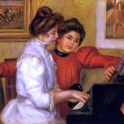 "Pierre Auguste Renoir Young Girls at the Piano  Print - 16"" x 20"" Pierre Auguste Renoir Young Girls at the Piano premium archival print reproduced to meet museum quality standards. Our museum quality archival prints are produced using high-precision print technology for a more accurate reproduction printed on high quality, heavyweight matte presentation paper with fade-resistant, archival inks. Our progressive business model allows us to offer works of art to you at the best wholesale pricing, significantly less than art gallery prices, affordable to all. This line of artwork is produced with extra white border space (if you choose to have it framed, for your framer to work with to frame properly or utilize a larger mat and/or frame).  We present a comprehensive collection of exceptional art reproductions byPierre Auguste Renoir."