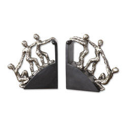 Uttermost - Helping Hand Nickel Bookends, Set of 2 - Pay it backward. This set of helping hands bookends epitomizes the very best in humankind. In your library, they can hold your books upright while teaching your kids a great lesson.
