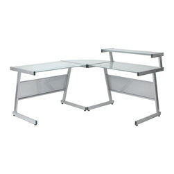 Euro Style - L Desk in Aluminum Finish w Frosted Glass Top - Heavy powder epoxy coated steel frame. Modesty panels, perforated metal. Frosted tempered glass top and shelf, 5mm thick. Adjustable feet. 61.5 in. L x 61.5 in. W x 28.5 in. H