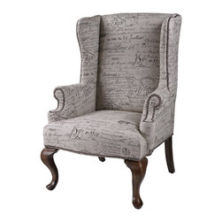 Sterling Industries - Sterling Industries 6071399 Marianne Wing Chair - This Wing Chair Gives One The Feeling Of Owning A Well-Loved Heirloom. Fabric Is A Linen Cotton Blend Displaying Antique French Script. Warm Mahogany Queen Ann Legs. Throw Into A Contemporary Or Transitional Room To Add Warmth And Coziness.  Accent Chair (1)