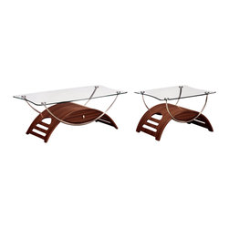 Global Furniture - Global Furniture USA T63 Meryl 2-Piece Glass Coffee Table Set in Mahogany - This modern coffee table is made of tempered glass and is finished in mahogany. The chrome pipes makes this table a focus point for any living room.