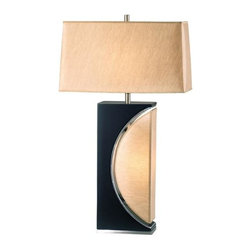 Nova - Half Moon Table Lamp - 6 foot cord. 25W night light bulb included. Elegant, unique table lamp. Modern, contemporary, dark brown, brushed nickel. Warm, high quality fabric shade. Functional and stylish. Shade Material: Etruscan Gold. Shade Dimensions: 8 x 17- 9 x 18 x 10V. Switch Type: 4-way switch. 1 Year Limited Manufacturer Warranty. 18 in. W x 30 in. H, 7.7 lbs