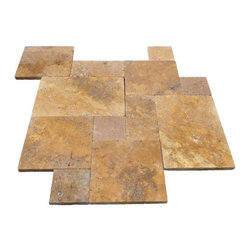 "French Pattern Gold Travertine Pavers - Tumbled - Our PREMIUM SELECT Tumbled French Pattern Gold Travertine Pavers contain a mixture of light and dark gold tones with occasional white Onyx formations. There is significant movement throughout and a high variation is to be expected. French pattern consists of 8x8, 8x16, 16x16, 16x24 sizes. 1.25"" thick."