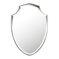 Zentique - Ginevra Mirror - The Ginevra Mirror features a shield shaped, rustic silver frame.
