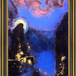 """Art MegaMart - Odilon Redon Bo(VirgCorona) - 16"""" x 24"""" Odilon Redon The Boat (also known as Virgin with Corona) framed premium canvas print reproduced to meet museum quality standards. Our Museum quality canvas prints are produced using high-precision print technology for a more accurate reproduction printed on high quality canvas with fade-resistant, archival inks. Our progressive business model allows us to offer works of art to you at the best wholesale pricing, significantly less than art gallery prices, affordable to all. This artwork is hand stretched onto wooden stretcher bars, then mounted into our 3 3/4"""" wide gold finish frame with black panel by one of our expert framers. Our framed canvas print comes with hardware, ready to hang on your wall.  We present a comprehensive collection of exceptional canvas art reproductions by Odilon Redon."""