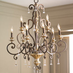 "Nine-Light ""Heirloom"" Chandelier - Showcasing the look of a European chandelier, hang this stunning nine-light chandelier in a dining room or entry.  It will captivate with its multifaceted crystal drops.     * Made of steel.    * 32""Dia. x 41""T with 8'L chain."