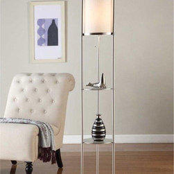 Artiva - Artiva USA Exeter Modern 63-inch Brushed Steel Floor Lamp with Durable Glass She - Upgrade any room with this contemporary Exeter shelf lamp from Artiva USA. This posh lamp is perfect addition to your home or office and features an elegant design with a convenient display shelf,finished in brushed steel.