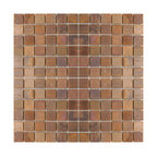 """Eden Mosaic Tile - Medium Square Antique Copper Mosaic Tile, Sample - This copper mosaic tile is made with real pieces of copper that have an antique finish. This mosaic features medium sized square shaped copper tiles because of the size of the individual pieces this tile is suitable for wrapping around slightly rounded walls and other objects. The tiles in this sheet are mounted on a nylon mesh which allows for an easy installation. Squares are 0.9""""x0.9"""". Imported."""