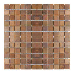 "Eden Mosaic Tile - Medium Square Antique Copper Mosaic Tile, Sample - This copper mosaic tile is made with real pieces of copper that have an antique finish. This mosaic features medium sized square shaped copper tiles because of the size of the individual pieces this tile is suitable for wrapping around slightly rounded walls and other objects. The tiles in this sheet are mounted on a nylon mesh which allows for an easy installation. Squares are 0.9""x0.9"". Imported."