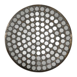 Uttermost - Uttermost Ramses Rustic Metal Mirror X-84670 - Made of rustic metal finished with a heavy gray wash over antiqued, gold leaf undertones encasing over 120 small, round mirrors.