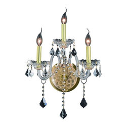 Elegant - Verona Gold Swarovski Elements Wall Sconce - Inspired by the elegant English chandeliers of the Eighteenth century, the allure of our Verona Collection captures the look of pure luxury. Cut-crystal center columns and bobeches accent the drape.