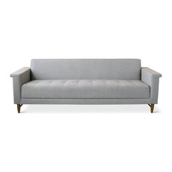 Gus Modern - Harbord Sofa, Totem Storm - The Harbord Sofa has Mid-Century inspired details like blind-tufted upholstery, flanged arms, and tapered wood legs with stringers. Made with 100% FSC-Certified wood.