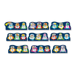 Carson-Dellosa - Carson-Dellosa Animal Theme Bulletin Board Set - 9 Alphabet - Bulletin board set offers a cute, animal theme to decorate your bulletin board and as a teaching aide. Animals in colorful spaceships teach the ABCs in this bulletin board set. 10-piece set includes an alphabet chart (15 x 16-1/2), nine alphabet pieces and a resource guide. The alphabet chart displays every letter of the alphabet in lowercase and uppercase on colorful spaceships carrying friendly animals. each alphabet piece highlights three letters in the same way. The largest alphabet piece is approximately 22-1/2 x 8. Alphabet Spaceships Bulletin Board Set is designed for students from preschool to second-grade and ages from 4 to 7.