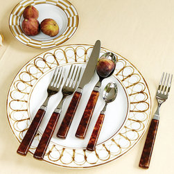 Ballard Designs - Bunny Williams 5-Piece Melange Flatware Set - Dresses up or down with the occasion. Graciously sized. 18/10 stainless steel. Acrylic tortoise handles. The simple handle shape was inspired by an antique set of bone knives Bunny has owned for years. Elegant enough for indoors and rugged enough for a picnic, Melange is crafted by one of Italy's premier silverware manufacturers of  and finished with acrylic tortoise handles, one of Bunny's favorite neutral patterns. 5-Piece Set Includes one of each of Dinner Knife, Dinner Fork, Salad Fork, Tablespoon and Teaspoon. Bunny Williams Melange 5-Piece Flatware features: . . . .