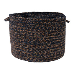 "Colonial Mills, Inc. - Hayward, Navy Utility Basket, 18""X12"" - Storage baskets make great accessories for the modern household, helping to discreetly store loose items while looking natural and elegant. In warm, sophisticated chocolate brown and navy, this braided basket will harmonize with your darker woods and leathers."