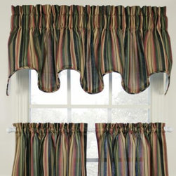 A.l. Ellis Inc. - Montego Stripe Scallop Valance - Give your decor a striking look with these window curtain tiers in a stripe pattern. The shades of green, black, gold and maroon offer a stylish update to a classic design.