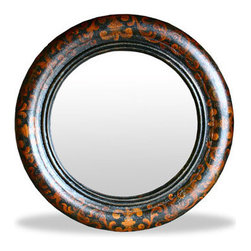 Koenig Collection - Carson Mirror, Black Baroque With Gold Scrolls - Old World Round Mirror Carson, Black Baroque with Gold Scrolls