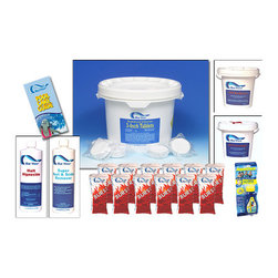 "Blue Wave - Blue Wave Chemical Season's Supply Kit - Standard Season's Supply Chemical Kit Trust Your Pool To Premium Blue Wave; Chemicals. These Chemicals Are Specially Formulated To Keep Your Equipment In Top Condition, Your Liner Clean And Flexible, And Your Water Crystal Clear. We Recommend Only Blue Wave; For Your Pool. Kit Contains: 25 Lb. 3"" Tablets; 1 Qt. Halt 50 Algaecide; 1 Qt. Super Rust & Scale; 12 X 1 Lb. Bags Chlor-Burst Shock; 5 Lb. Ph Increaser; 6 Lb. Ph Reducer; Aquachek Chlorine 3-Way Test Strips; Free Pool Care Guide"