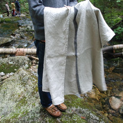 goodlinens 100% linen towels on a New Hampshire camping trip. - alex holding a heavyweight solo stripe bath towel