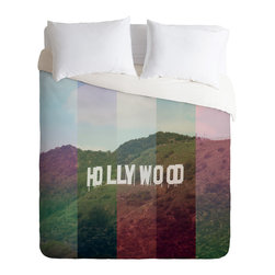 DENY Designs - Catherine McDonald Hollywood California Duvet Cover - Turn your basic, boring down comforter into the super stylish focal point of your bedroom. Our Luxe Duvet is made from a heavy-weight luxurious woven polyester with a 50% cotton/50% polyester cream bottom. It also includes a hidden zipper with interior corner ties to secure your comforter. It's comfy, fade-resistant, and custom printed for each and every customer.