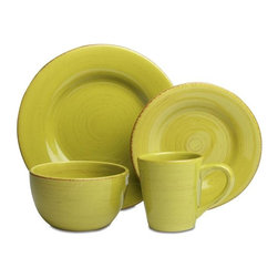 Tag Everyday - Sonoma Dinnerware Collection - Set of 16 - Ap - Made of ironstone. All pieces are hand painted with distressed strokes. Microwave and dishwasher safe. Mix and match colors. Set includes 4 each of dinner plate, salad plate, cereal bowl and mug. Color: Apple Green. 11 in. Dia. 8.25 in. Dia. 3.25 in. H x 6 in. Dia. 4.25 in. H x 4 in. dia (14 oz. capacity)