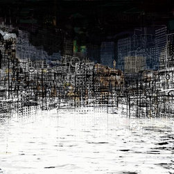 """""""On the waterfront II"""" Artwork - An abstract work based on a waterfront cityscape. I am happy to arrange printing in different sizes and on other substrates, and also to different parts of the world."""